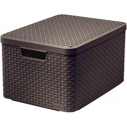 Brązowy koszyk / pudełko z pokrywką L STYLE CURVER