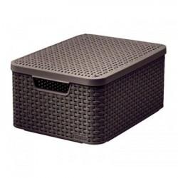 Koszyk z pokrywką CURVER ciemny brąz Style M